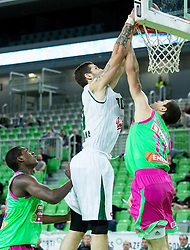 Ronalds Zakis #30 of KK Union Olimpija vs Djordje Simeunovic of Mega Leks during basketball match between KK Union Olimpija Ljubljana and KK Mega Leks (SRB) in 11th Round of ABA League 2015/16, on November 21, 2015 in Arena Stozice, Ljubljana, Slovenia. Photo by Vid Ponikvar / Sportida