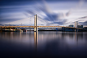 A long exposure of Tilikum Crossing in Portland, Oregon during the afternoon.