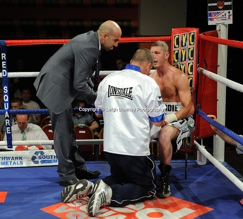 Derry Mathews defeats George Watson (pictured) for a Lightweight 8 x 3 min rounds contest at Olympia, Liverpool on the 11th June 2011. Frank Maloney Promotions.Photo credit: Leigh Dawney 2011