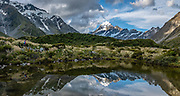 The peak of Aoraki / Mount Cook (3755 meters / 12,349 feet) reflects in a tarn on the Hooker Valley Track, in Aoraki / Mount Cook National Park, Southern Alps, Canterbury region, South Island, New Zealand. In 1990, UNESCO honored Te Wahipounamu - South West New Zealand as a World Heritage Area. This image was stitched from multiple overlapping photos.