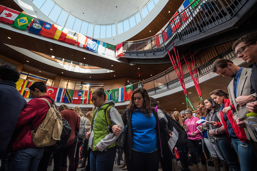Students, faculty and staff gather to celebrate the International Day of Tollerance at the Hemmingson Center November 16, 2015. (Photo by Rajah Bose)