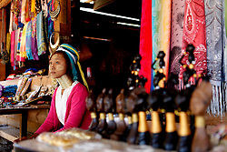A Padaung woman with brass rings around her neck sits at a gift shop in Panpet Village, Demoso Township, Kayah State, Myanmar, April 11, 2016. The brass rings are first applied when the Padaung girls are about eight years old and as the girl grows older, longer coils are added up to 24 or 25 rings. EXPA Pictures © 2016, PhotoCredit: EXPA/ Photoshot/ U Aung<br /> <br /> *****ATTENTION - for AUT, SLO, CRO, SRB, BIH, MAZ, SUI only*****
