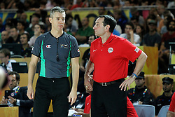 02.09.2014, City Arena, Bilbao, ESP, FIBA WM, USA vs Neuseeland, im Bild USA's coach Mike Krzyzewski have words with the referee // during FIBA Basketball World Cup Spain 2014 match between USA and New Zealand at the City Arena in Bilbao, Spain on 2014/09/02. EXPA Pictures © 2014, PhotoCredit: EXPA/ Alterphotos/ Acero<br /> <br /> *****ATTENTION - OUT of ESP, SUI*****