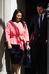 Downing Street, London, July 5th 2016. Employment Minister Priti Patel and Work and Pensions Secretary Stephen Crabb leaves 10 Downing Street following the weekly cabinet meeting.
