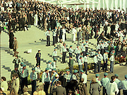Pope John-Paul II visits Ireland..1979..29.09.1979..09.29.1979..29th September 1979..Today marked the historic arrival of Pope John-Paul II to Ireland. He is here on a three day visit to the country with a packed itinerary. He will celebrate mass today at a specially built altar in the Phoenix Park in Dublin. From Dublin he will travel to Drogheda by cavalcade. On the 30th he will host a youth rally in Galway and on the 1st Oct he will host a mass in Limerick prior to his departure from Shannon Airport to the U.S..The Catholic Boy Scouts Of Ireland (CBSI) who took part in the crowd control arrangements are pictured taking up their positions.