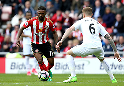 Jermain Defoe of Sunderland takes on Alfie Mawson of Swansea City - Mandatory by-line: Robbie Stephenson/JMP - 13/05/2017 - FOOTBALL - Stadium of Light - Sunderland, England - Sunderland v Swansea City - Premier League