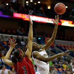 April 7, 2013; New Orleans, LA, USA; California Golden Bears forward Gennifer Brandon (25, right) shoots against Louisville Cardinals center Sheronne Vails (3) during the first half in the semifinals during the 2013 NCAA womens Final Four at the New Orleans Arena. Mandatory Credit: Derick E. Hingle-USA TODAY Sports