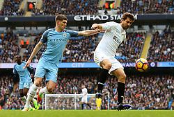 John Stones of Manchester City closes down Fernando Llorente of Swansea City - Mandatory by-line: Matt McNulty/JMP - 05/02/2017 - FOOTBALL - Etihad Stadium - Manchester, England - Manchester City v Swansea City - Premier League