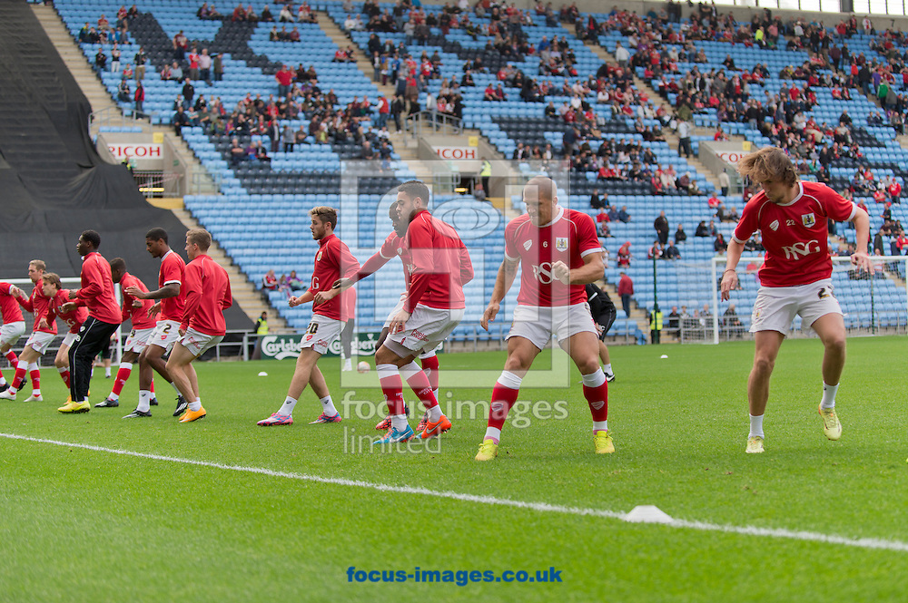 Bristol City players warm up before the Sky Bet League 1 match at the Ricoh Arena, Coventry<br /> Picture by Russell Hart/Focus Images Ltd 07791 688 420<br /> 18/10/2014