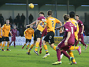 Craig Watson heads home Arbroath's opener - Arbroath v Annan Athletic, Ladbrokes SPFL League two at Gayfield<br /> <br />  - &copy; David Young - www.davidyoungphoto.co.uk - email: davidyoungphoto@gmail.com
