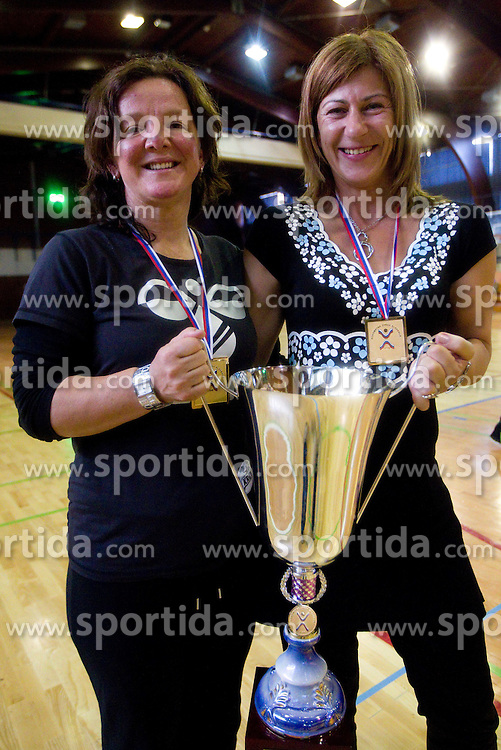 Marta Bon, head coach and Tanja Polajnar during celebration of RK Krim Mercator after the handball game between RK Krim Mercator and ZRK Krka of Liga z'dezele of Slovenian National Championship 2010/2011, on May 14, 2011 in Arena Krim Galjevica, Ljubljana, Slovenia. Krim became Slovenian National Champion 2010//2011. (Photo By Vid Ponikvar / Sportida.com)