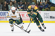 Vermont's Jarrid Privitera (19) skates with the puck past Clarkson's Sam Vigneault (21) during the men's hockey game between the Clarkson Golden Knights and the Vermont Catamouts at Gutterson Fieldhouse on Saturday night October 8, 2016 in Burlington. (BRIAN JENKINS/for the FREE PRESS)