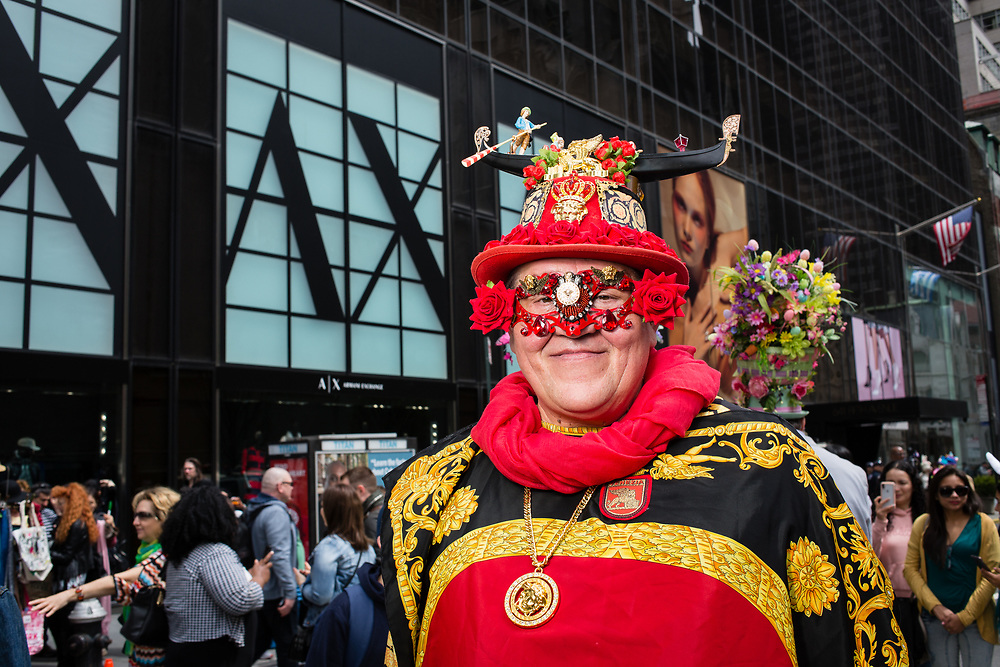 New York, NY - 21 April 2019. A man with a Venetian gondola on his hat at the Easter Bonnet Parade and Festival on New York's Fifth Avenue.