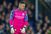 Manchester City goalkeeper Ederson (31) spitting during the Premier League match between Crystal Palace and Manchester City at Selhurst Park, London, England on 19 October 2019.