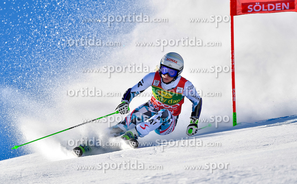 22.10.2016, Rettenbachferner, Soelden, AUT, FIS Weltcup Ski Alpin, Soelden, Riesenslalom, Damen, 1. Durchgang, im Bild Eva-Maria Brem (AUT) // Eva-Maria Brem of Austria in action during 1st run of ladies Giant Slalom of the FIS Ski Alpine Worldcup opening at the Rettenbachferner in Soelden, Austria on 2016/10/22. EXPA Pictures &copy; 2016, PhotoCredit: EXPA/ Nisse Schmid<br /> <br /> *****ATTENTION - OUT of SWE*****