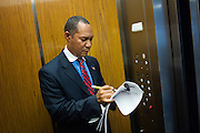 ALLENTOWN, PA – JULY 20, 2011: Councilman Julio Guridy of Allentown prepares for a city council meeting on July 20, 2011. As the city's first Hispanic councilman, Guridy, who is Dominican, has served on a variety of committes and organizations supporting the Latino communities of the Lehigh Valley since first being elected in 2001.<br />