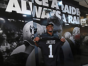 April 26, 2019: Alameda, CA, United States: Oakland Raiders' 25th overall selection running back  Josh Jacobs posing with a  1ST ROUND DRAFT PICKS  jersey at Raiders Headquarters.   (Gerome Wright/Image of Sport)