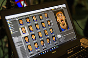 Forest Green Rovers Callum Evans(18) has his face scanned for FIFA18 during the Forest Green Rovers Photocall at the New Lawn, Forest Green, United Kingdom on 31 July 2017. Photo by Shane Healey.