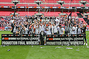 Grimsby win the promotion final and lift the trophy during the Conference Premier Final match between Forest Green Rovers and Grimsby Town FC at Wembley Stadium, London, England on 15 May 2016. Photo by Shane Healey.