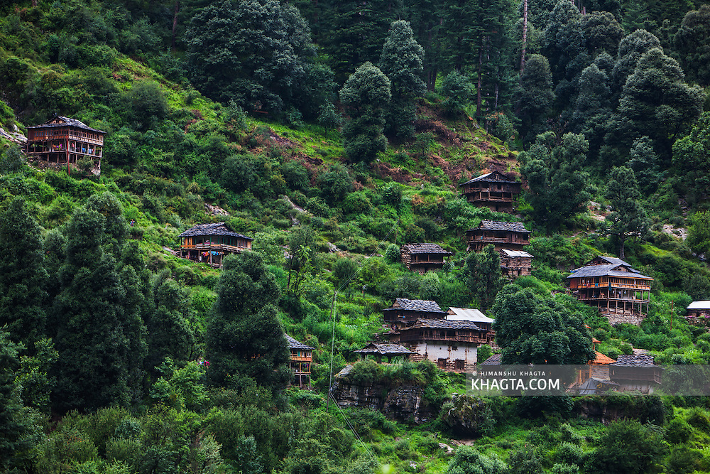 A Himalayan village near Barshani in  Parvati valley in Kullu, Himachal Pradesh, India