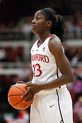 January 20, 2011; Stanford, CA, USA;  Stanford Cardinal forward Chiney Ogwumike (13) warms up before the the second half against the UCLA Bruins at Maples Pavilion.  Stanford defeated UCLA 64-38.