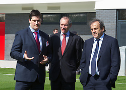 NEWPORT, WALES - Saturday, April 20, 2013: UEFA President Michel Platini with Welsh Football Trust Chief Executive Neil Ward at the opening of the FAW National Development Centre in Newport. (Pic by David Rawcliffe/Propaganda)