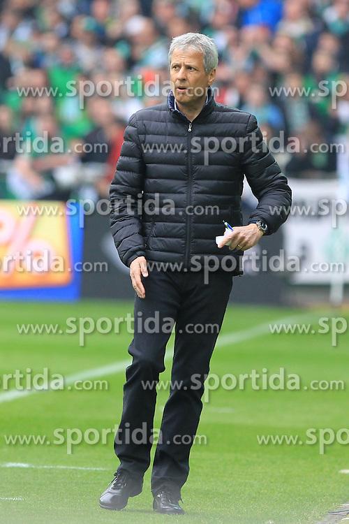 Football: Germany, 1. Bundesliga, SV Werder Bremen vs. Borussia Moenchengladbach, Bremen - 16.05.2015,<br /> Trainer Lucien Favre (Moenchengladbach)<br /> <br /> &copy; pixathlon