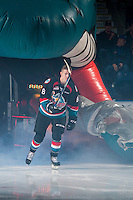 KELOWNA, CANADA - SEPTEMBER 24: Jack Cowell #8 of the Kelowna Rockets enters the ice against the Kamloops Blazers on September 24, 2016 at Prospera Place in Kelowna, British Columbia, Canada.  (Photo by Marissa Baecker/Shoot the Breeze)  *** Local Caption *** Jack Cowell;