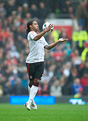 MANCHESTER, ENGLAND - Sunday, September 19, 2010: Liverpool's Glen Johnson in action against Manchester United during the Premiership match at Old Trafford. (Photo by David Rawcliffe/Propaganda)