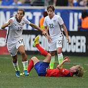 Tobin Heath, (left), U.S. Women's National Team, in action during the U.S. Women's National Team Vs Korean Republic, International Soccer Friendly in preparation for the FIFA Women's World Cup Canada 2015. Red Bull Arena, Harrison, New Jersey. USA. 30th May 2015. Photo Tim Clayton
