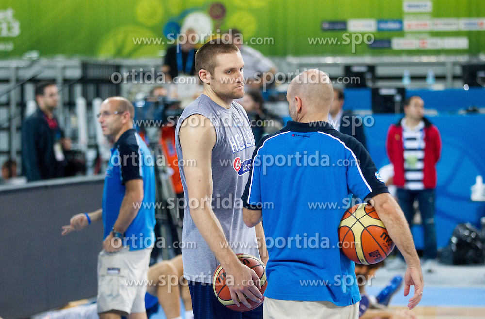 Michail Bramos #14 of Greece during training of National team of Greece before Round 2 at Day 7 of Eurobasket 2013 on September 10, 2013 in Arena Stozice, Ljubljana, Slovenia. (Photo by Vid Ponikvar / Sportida.com)