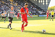 York City midfielder Ben Godfrey closed down by Notts County forward Adan Campbell during the Sky Bet League 2 match between Notts County and York City at Meadow Lane, Nottingham, England on 26 September 2015. Photo by Simon Davies.