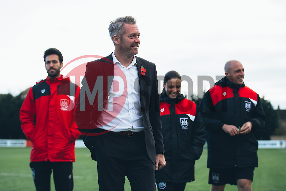 Bristol City Women Manager Willie Kirk and his coaches inspect the pitch - Rogan Thomson/JMP - 06/11/2016 - FOOTBALL - The Northcourt Stadium - Abingdon-on-Thames, England - Oxford United Women v Bristol City Women - FA Women's Super League 2.