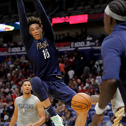 Oct 5, 2019; New Orleans, LA, USA; New Orleans Pelicans center Jaxson Hayes (10) dunks during a open practice at the Smoothie King Center. Mandatory Credit: Derick E. Hingle-USA TODAY Sports