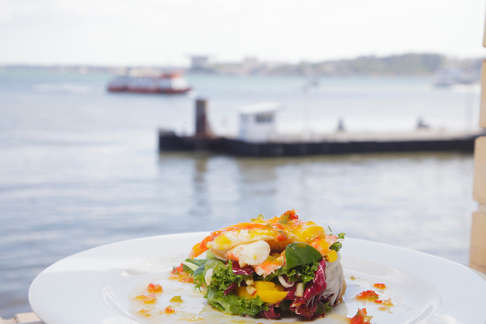 "Crab salad pictured in ""Ibo"" restaurant, with view to Tagus river."