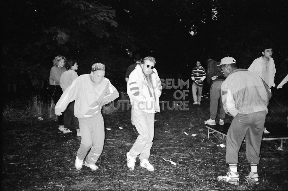 Guys at Rave at Flackwell Heath, UK, 1980s.