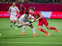 ANTWERPEN - Antoine Kina (Belgie)   tijdens finale mannen  Belgie-Spanje-,  bij het Europees kampioenschap hockey.  COPYRIGHT KOEN SUYK