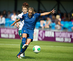 HAVERFORDWEST, WALES - Sunday, August 25, 2013: France's Sandie Toletti in action against Wales during the Group A match of the UEFA Women's Under-19 Championship Wales 2013 tournament at the Bridge Meadow Stadium. (Pic by David Rawcliffe/Propaganda)