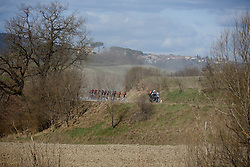Team Sunweb set the pace on the fourth gravel sector at Strade Bianche - Elite Women 2019, a 136 km road race starting and finishing in Siena, Italy on March 9, 2019. Photo by Sean Robinson/velofocus.com