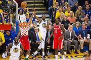 Golden State Warriors forward Kevin Durant (35) watches a missed three point shot attempt against the Houston Rockets during Game 6 of the Western Conference Finals at Oracle Arena in Oakland, Calif., on May 26, 2018. (Stan Olszewski/Special to S.F. Examiner)