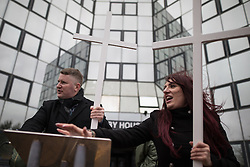 © Licensed to London News Pictures. 25/02/2017. Telford, UK. Paul Golding and Jayda Fransen at a Britain First rally in Telford . Britain First say they are highlighting concerns about child sexual exploitation in the town . Photo credit: Joel Goodman/LNP