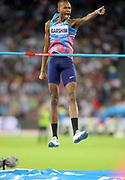 Mutaz Essa Barshim (QAT) celebrates after winning the high jump at 7-8¾ (2.36m) during the Weltklasse Zurich in an IAAF Diamond League meeting at Letzigrund Stadium in Zurich, Switzerland on Thursday, August 24, 2017.   (Jiro Mochizuki/Image of Sport)