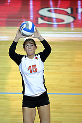 07 September 2011: Kristin Stauter sets the ball for a hitter during an NCAA volleyball match between the Leathernecks of Western Illinois  and the Illinois State Redbirds at Redbird Arena in Normal Illinois.