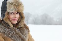 Woman in Cozy Fur Hat