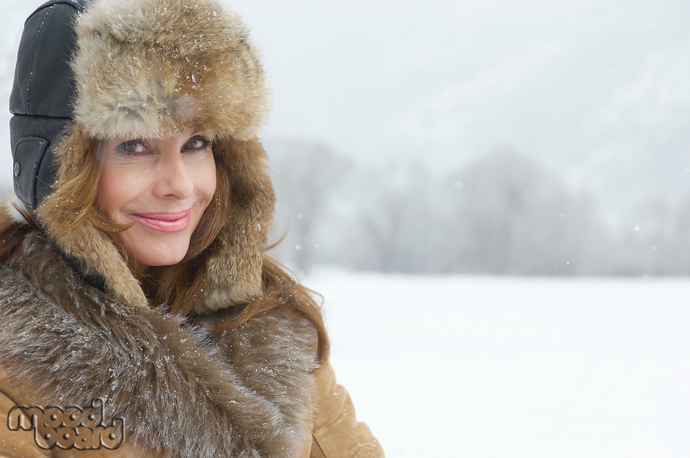 Woman in Cozy Fur Hat
