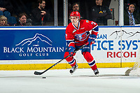KELOWNA, BC - MARCH 13: Nolan Reid #7 of the Spokane Chiefs skates with the puck against the Kelowna Rockets at Prospera Place on March 13, 2019 in Kelowna, Canada. (Photo by Marissa Baecker/Getty Images)