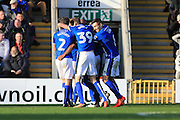GOAL Nathaniel Mendez-Laing celebrations 2-0 during the EFL Sky Bet League 1 match between Rochdale and Bury at Spotland, Rochdale, England on 15 October 2016. Photo by Daniel Youngs.