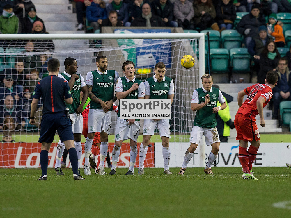 Hibernian FC v St Mirren FC <br /> <br /> Stephen Mallan  (St Mirren) scores for St Mirren during the SPFL Championship match between Hibernian and St Mirren FC at Easter Road Stadium on Saturday 23 January 2016.<br /> <br /> Picture Alan Rennie.