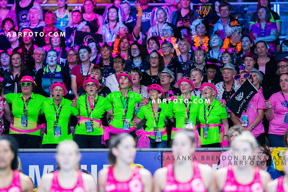 New Zealand fans during the Fast5 Netball 3rd Vs 4th match between New Zealand Silver Ferns and Australia at Hisense Arena Melbourne Australia. Sunday 29th October 2017. Copyright Photo. Brendon Ratnayake / www.photosport.nz