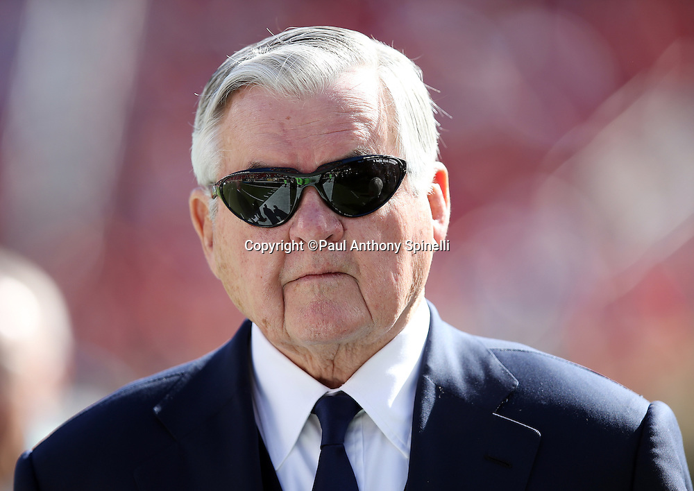 "Carolina Panthers founder and principal owner Jerome Johnson ""Jerry"" Richardson, Sr. looks on during a field level visit before the NFL Super Bowl 50 football game against the Denver Broncos on Sunday, Feb. 7, 2016 in Santa Clara, Calif. The Broncos won the game 24-10. (©Paul Anthony Spinelli)"